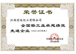 全國輕工業卓越績效成熟企業榮譽證書